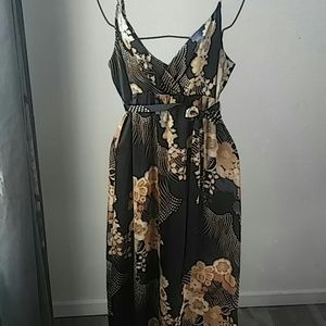 Oriental Print Silky long dress